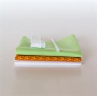 Afbeelding van Setje voor extra poppenjurk - Oranje - Fris Pastel Groen
